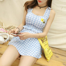 Load image into Gallery viewer, Pink/Blue Mori Girl One-piece Plaid Swimsuit SP178967