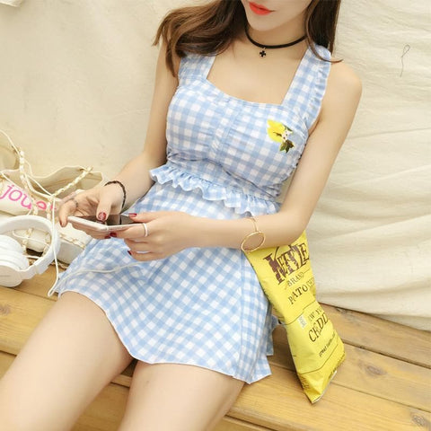 Pink/Blue Mori Girl One-piece Plaid Swimsuit SP178967