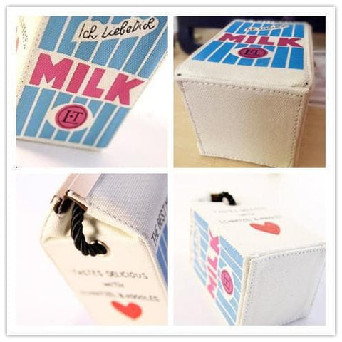 Pink/Blue Sweet Milk Box Canvas Cross-body Bag SP152157 - SpreePicky  - 4