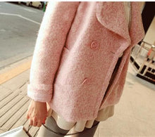 Load image into Gallery viewer, Pink/Blue Sweet Petal Shape Collar Woolen Coat SP154674 - SpreePicky  - 6