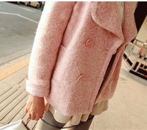 Pink/Blue Sweet Petal Shape Collar Woolen Coat SP154674 - SpreePicky  - 6