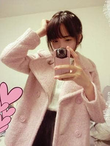 Pink/Blue Sweet Petal Shape Collar Woolen Coat SP154674 - SpreePicky  - 5