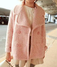 Load image into Gallery viewer, Pink/Blue Sweet Petal Shape Collar Woolen Coat SP154674 - SpreePicky  - 4
