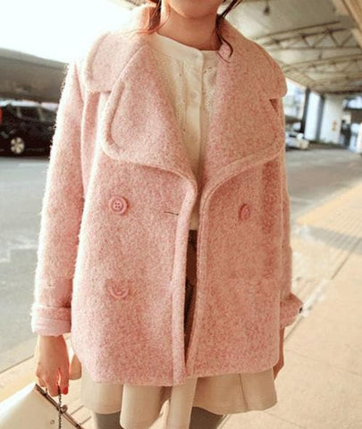 Pink/Blue Sweet Petal Shape Collar Woolen Coat SP154674 - SpreePicky  - 4