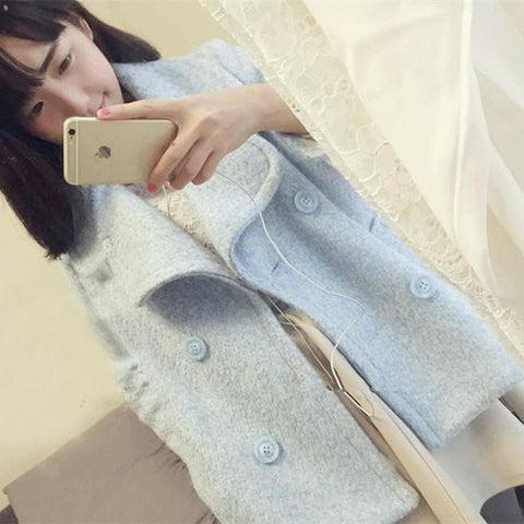 Pink/Blue Sweet Petal Shape Collar Woolen Coat SP154674 - SpreePicky  - 1