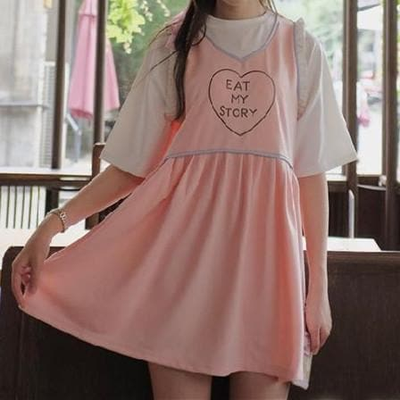 Pink/Blue Sweet Short Sleeve Dress SP167138
