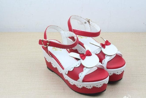 Pink/Brown/Red Lolita Lovely Bunny Shoes SP165719