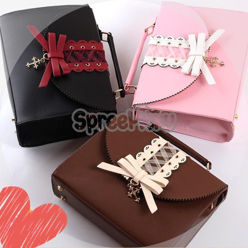 Pink/Brown Bowknot Lolita 3 Ways Shoulder Bag SP168530