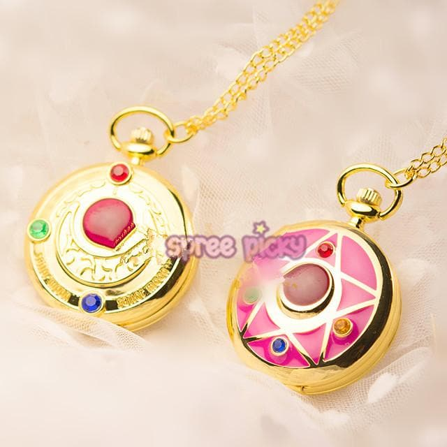 Pink/Golden Sailor Moon Moon Prism Pocket Watch SP165497