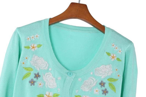 Pink/Green Floral Roses Embroidery Knit Cardigan SP130117 - SpreePicky  - 4