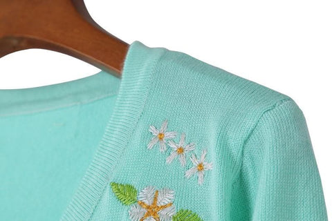 Pink/Green Floral Roses Embroidery Knit Cardigan SP130117 - SpreePicky  - 5