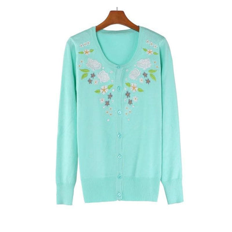 Pink/Green Floral Roses Embroidery Knit Cardigan SP130117 - SpreePicky  - 2