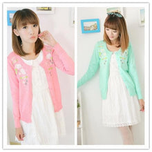 Load image into Gallery viewer, Pink/Green Floral Roses Embroidery Knit Cardigan SP130117 - SpreePicky  - 1