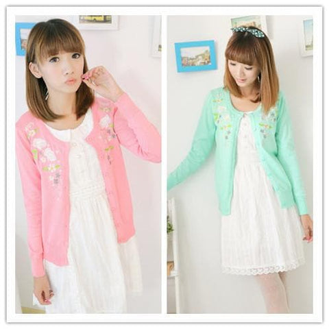 Pink/Green Floral Roses Embroidery Knit Cardigan SP130117