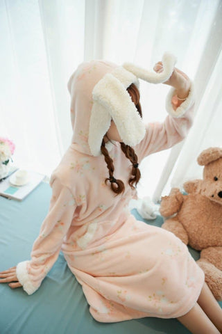 Pink/Green Kawaii Bunny Fleece Home Wear Pajamas Dress SP164907 - SpreePicky  - 4