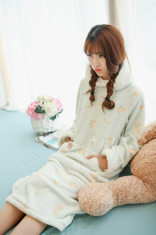 Pink/Green Kawaii Bunny Fleece Home Wear Pajamas Dress SP164907 - SpreePicky  - 5