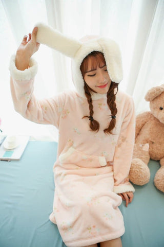 Pink/Green Kawaii Bunny Fleece Home Wear Pajamas Dress SP164907 - SpreePicky  - 3