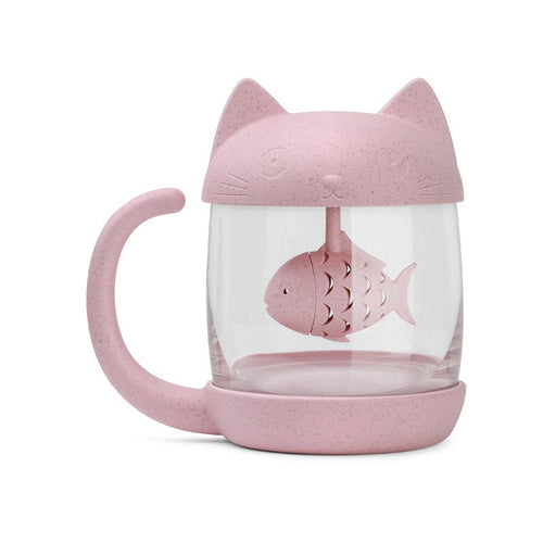 PinkGrey Kawaii Kitty Fish Water Bottle SP1710163