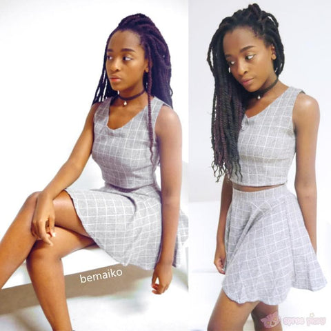 S/M/L Pink/Grey Me & My Bff Midriff-Baring Crop top + A Shape Skirt Set SP152218 - SpreePicky  - 2