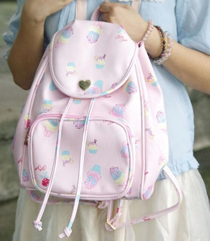 Pink/Blue Ice-cream Printed Backpack SP165506