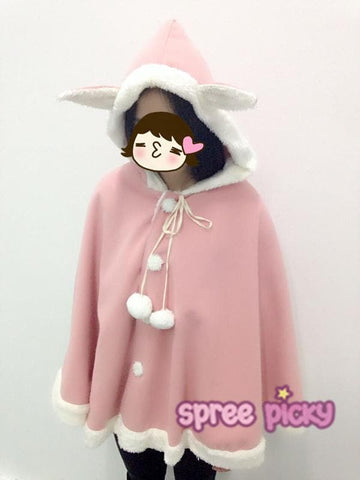 Pink/Navy Kawaii Rabbit Ears Hoodie Cape SP168168