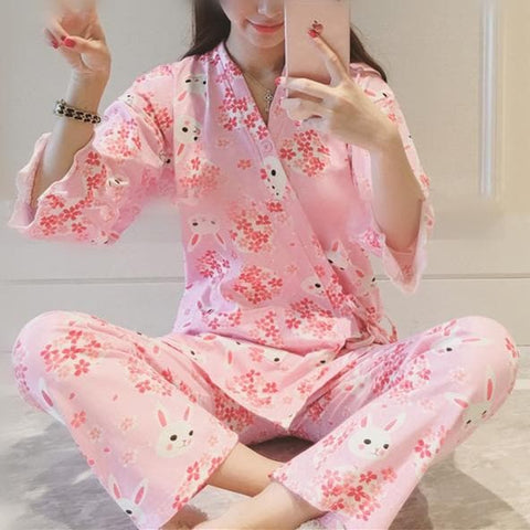 Pink/Navy Sakura Rabbit Two Pieces Homewear SP167292