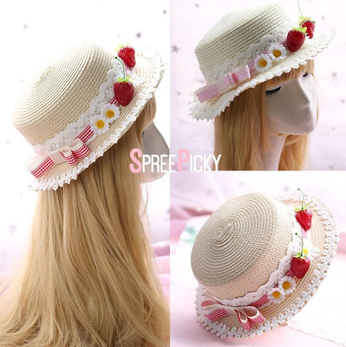 Pink/Red Kawaii Strawberry Bow Hat SP1812611