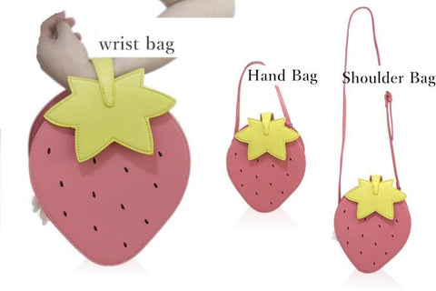 Pink/Red Kawaii Strawberry Shoulder Bag SP152297 - SpreePicky  - 5