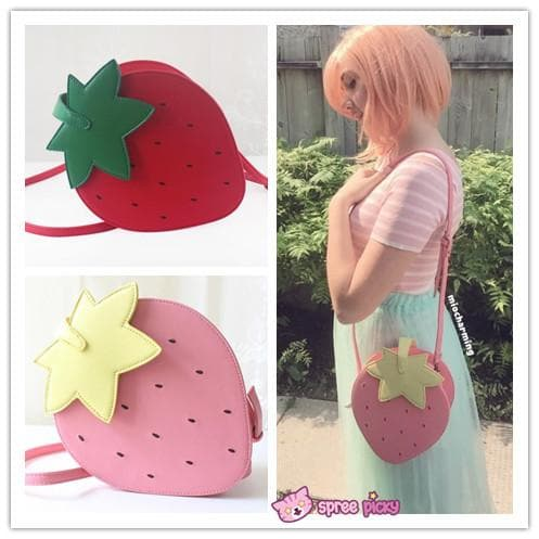 Pink/Red Kawaii Strawberry Shoulder Bag SP152297 - SpreePicky  - 1