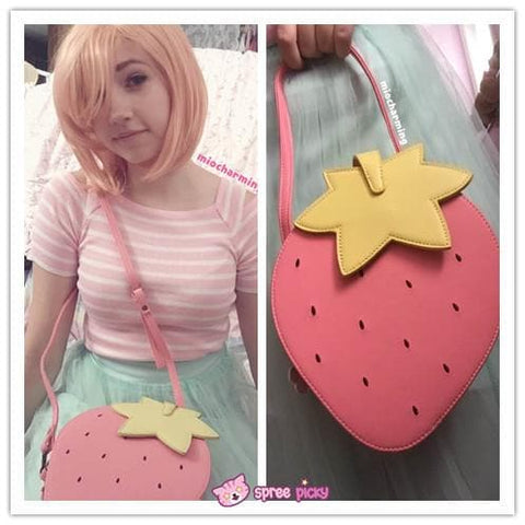Pink/Red Kawaii Strawberry Shoulder Bag SP152297 - SpreePicky  - 3