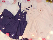 Load image into Gallery viewer, Pink/Violet Black Kawaii Candy Cat Cut Out Meow Suspender Dress SP165481 Kawaii Aesthetic Fashion - SpreePicky