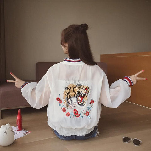 Pink/White/Black Kawaii Embroidery Tulle Jacket SP179712