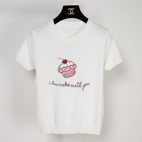 Pink/White Cupacke Icecream Kwaii Tee Shirt SP152159 - SpreePicky  - 2