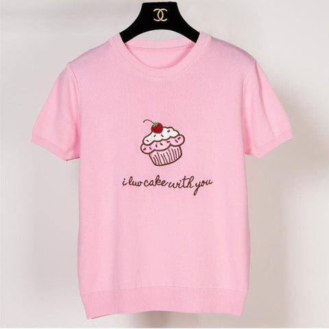 Pink/White Cupacke Icecream Kwaii Tee Shirt SP152159 - SpreePicky  - 3