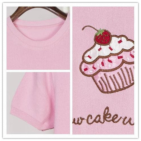 Pink/White Cupacke Icecream Kwaii Tee Shirt SP152159 - SpreePicky  - 4