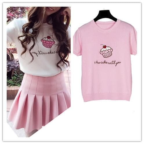 Pink/White Cupacke Icecream Kwaii Tee Shirt SP152159 - SpreePicky  - 1
