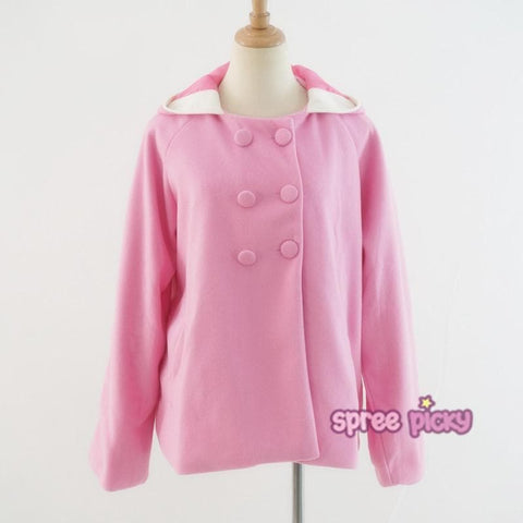 Pink/White Cutie Rabbit Ear Double-breasted Coat SP153999