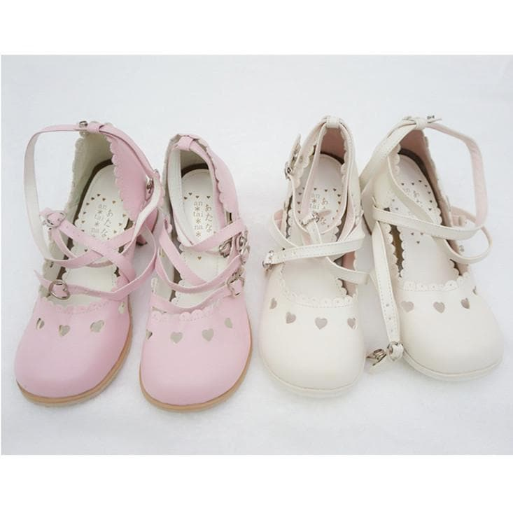 Pink/White Lolita Low Heel Hollow Hearts Shoes Clearance Sales SP141033 - SpreePicky  - 1