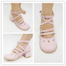 Load image into Gallery viewer, Pink/White Lolita Low Heel Hollow Hearts Shoes Clearance Sales SP141033 - SpreePicky  - 2