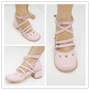 Pink/White Lolita Low Heel Hollow Hearts Shoes Clearance Sales SP141033 - SpreePicky  - 2