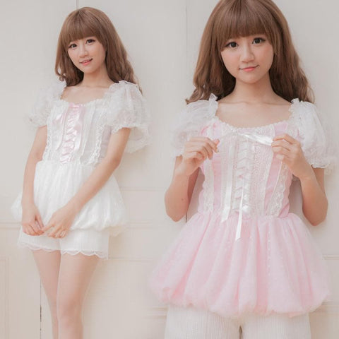 Pink/White Pastel Bubble Princess Top SP152180 - SpreePicky  - 1