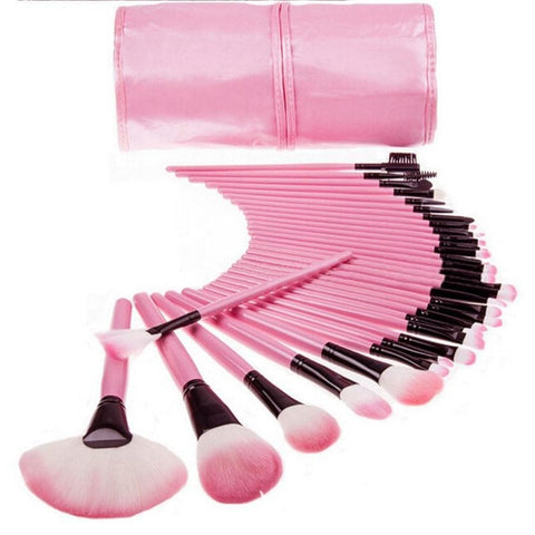 Pink 32 Pieces Makeup Tools Cosmetics Brush Set SP168281
