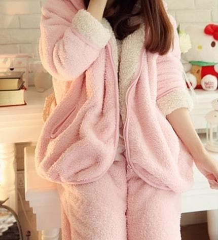 Pink Bunny Ear Fleece Home Wear Pajamas Set SP164925 - SpreePicky  - 3