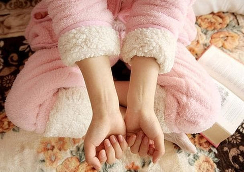 Pink Bunny Ear Fleece Home Wear Pajamas Set SP164925 - SpreePicky  - 5