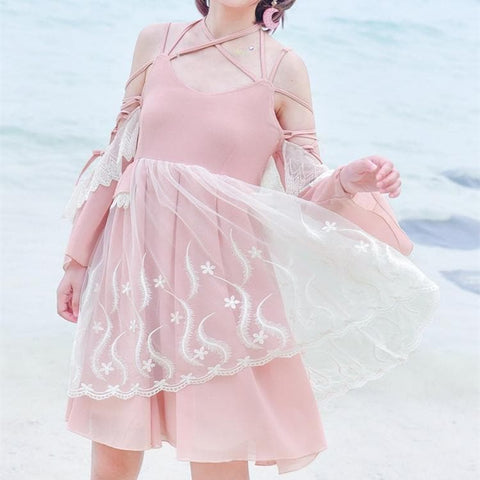 Pink Fairy Floral Bow Dress SP1812549