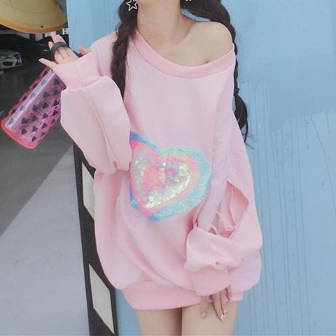 Pink Pastel Heart Jumper Sweatershirt SP168104