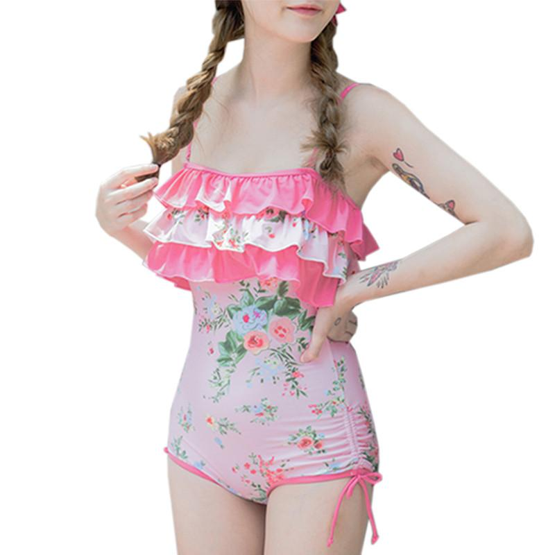 Pink Floral One-piece Swimsuit SP179021