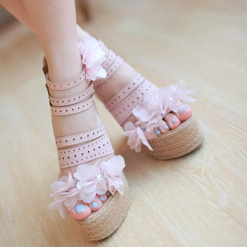 Pink Flower High Heel Fary Shoes SP179637