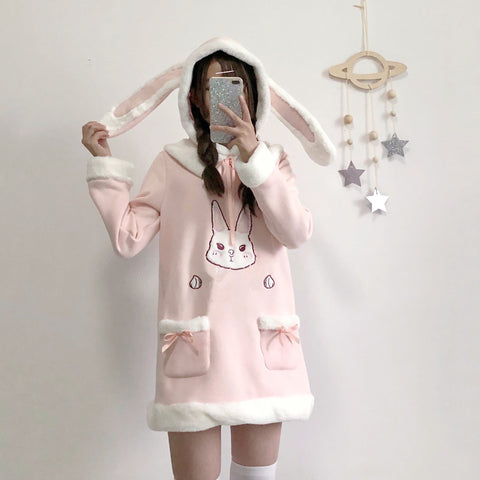 Pink Fluffy Bunny Hoodie Dress SP1711453