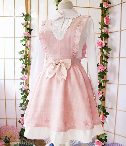 Pink Grid Sakura Embroidery Suepender Dress SP179699
